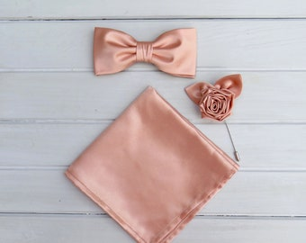 Rose Gold Bow tie, Rose Lapel Pin & Pocket Square, Rose Gold Bowtie for Wedding, Rose Gold Bow tie, Mens Bowtie, Groomsmen BowTie, Lapel Pin