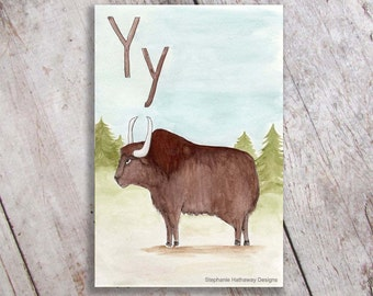 Y is for Yak Art Print, Nursery Decor, Kid's Room Wall Art, Initial, Name sign
