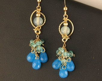 Blue Gemstone Long Cluster Gold Party Earrings, Elegant Blue Wire Wrapped Evening Earrings,Special Occasion Statement Earrings