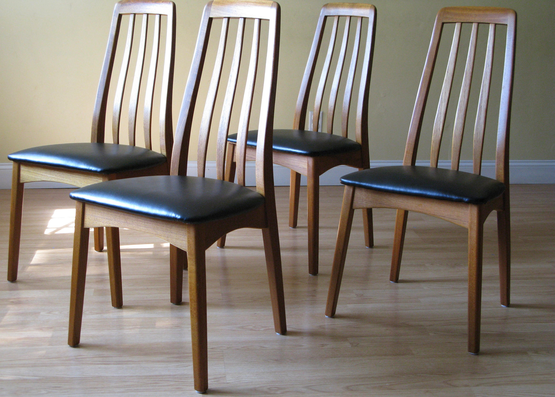 Set of 4 Benny Linden Highback teak dining side chairs