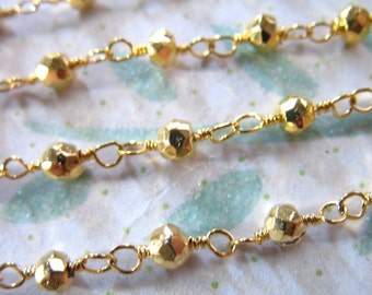 Rosary Chain, PYRITE Wire Wrapped Gemstone Beaded Chain by the Foot, Gold Plated, Wholesale Gemstone Chain rc.16 py solo