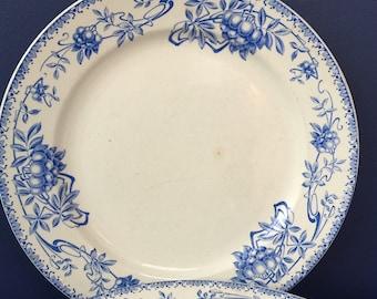 Set of 4 Art Nouveau plates, Boch Freres Keramis, blue transferware, Sorbier, Belgium pottery, antique tableware