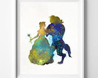 Beauty and The Beast, Disney Print, Disney Princess, Watercolour Art, Wedding Gift, Nursery, Wall Art For Office, Type 1, Mothers Day Gift