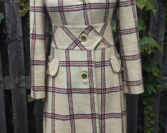 Vintage 1960's Mod Pickford Place Plaid Button Down Coat, Size, S-M