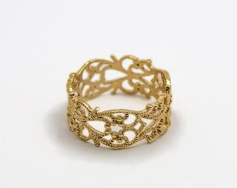 Gold ring - Lace ring - romantic ring - wedding ring