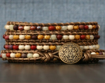 READY TO SHIP beaded leather wrapped bracelet - warm fall tones - brown, ochre, cream and red glass on bronze leather - bohemian jewelry