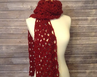 Bulky, Lace, Scarf, Crochet, Red
