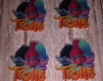 New- Trolls Resin Bow Centers - set of 4