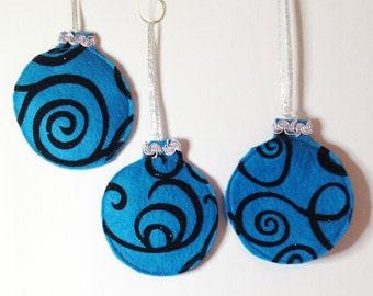 Christmas Ornaments, Felt Christmas Balls,Set of 3,Christmas Decorations, Felt Ornaments, Christmas Decor,Blue Balls, Gift CTO108A