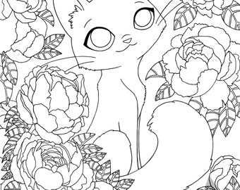 PEONY KITTY - Marker Coloring Page - 8x10 Bristol Board - copic prismacolor adult coloring book