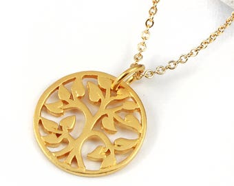 Family Tree Necklace - Goldfilled - Tree of Life Charm 24K Gold Plated - Circle Tree