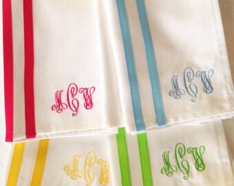 Monogram Napkin with Ribbon Stripes - Set of 4 / Dinner Napkin / Monogram Gift