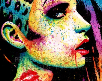 Edgy Punk Rock Fashion Rainbow Pop Art Portrait Signed Print 5x7, 8x10, or 11x14 - Intoxicated Colorful Pop Art Home Decor Painting