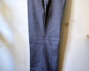 Vintage SULKA Gray Wool Trousers Flat Front Cuffed Size 36x31