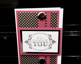 Burgady Handmade Thinking of You Card with Dots