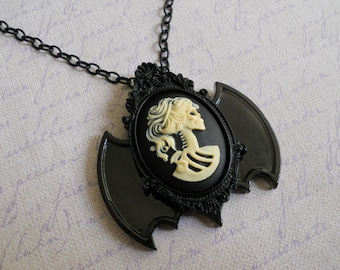 Gothic Lolita skeleton lady cameo bat wings necklace off white