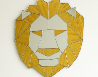 Lion Mirror, Geometric Lion Mirror, Modern Home Decor, Geometric Decor, Gold Mirror