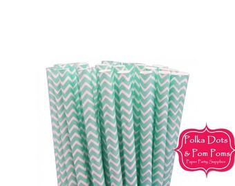 25 AQUA Chevron Paper Drinking Straws / Retro Kids Party Supplies / Wedding