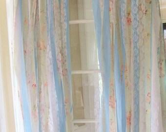 Shabby Curtains | Romantic Curtains | Rag Ribbon Curtains | Handmade Curtains | Streamer Backdrop | Set of 2 Panels