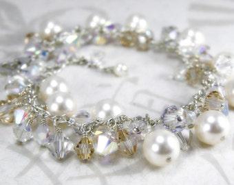 Ivory and Champagne Wedding Bracelet, Sterling Silver, White Swarovski Pearl, Clear Topaz Crystal, Handmade Bride Jewelry, Bridal Gift