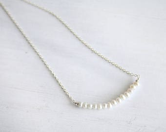 Tiny pearl bar necklace, pearl necklace, gifts for her, bridesmaids gifts, dainty necklace, freshwater pearl necklace, minimalist jewelry