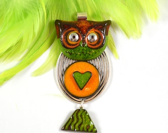 ceramic owl pendant, handmade on sterling silver bail, owl necklace