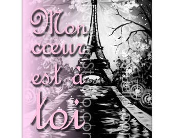 4x6 Printable, Instant Download, Pink Paris Eiffel Tower, Mon coeur est a toi, My heart is for you, Valentine's Day, Love, JPG, Digital, art