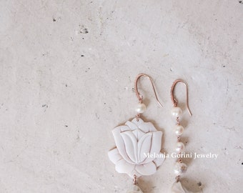 LOTUM Earrings - 925 sterling silver earrings 18K rose gold plated, authentic shell cameo, sardonyx cameo,Lotus flower and natural pearls