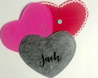 Personalized heart felt envelopes.