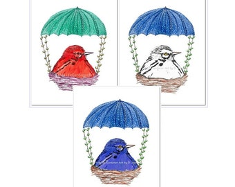 Whimsical Nursery Bird Art, Floating Baby Birds with Parachutes, Red, White, Blue Wall Art, Contemporary Nursery, Kids Room Decor, Set of 3