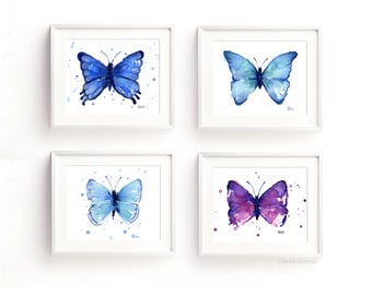 Butterfly Art Print Set Butterflies Wall Art Decor Nursery Butterfly Fine Art Prints Blue Purple Butterfly Home Decor Animal Set of 4 Prints