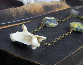 The Weirding Way Necklace. Snapping Turtle vertebra Tribal taxidermy necklace. Gift for him. Gift wrapped.
