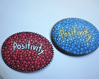 hand painted ink with acrylic on wood...the word positivity.with a magnet or without the back