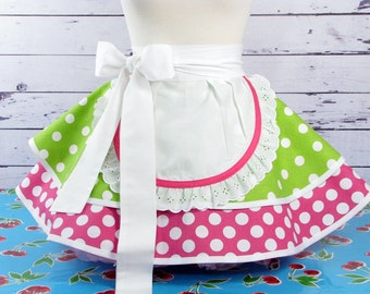 Christie Creme Donut Shop Half Apron by Dotties Diner Ready to Ship