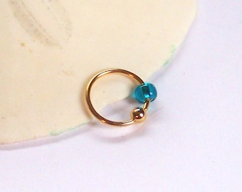 """Rose or Yellow Gold - Tragus Helix Snug Cartilage Rook - Upper Ear Percing - Beaded Captive Ring - Teal Glass Bead - CBR 18 Gauge 5/16"""" 3/8"""""""