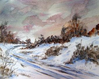 Original Winter Watercolor Landscape, winter snow scene, watercolor art, landscape painting, winter painting, winter landscape, snowfall