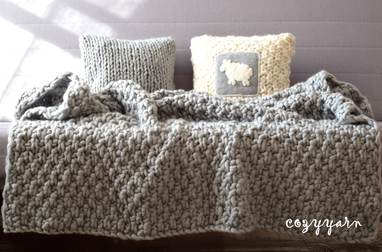 grobstrick stricken merino wolle decke grau decke wolle decke. Black Bedroom Furniture Sets. Home Design Ideas