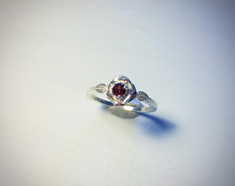 Birthstone sterling silver rose stacking ring MADE TO ORDER