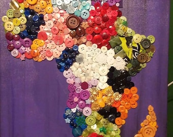 Homage To Africa Beaded Collage, Africa Painting, Africa Art, Africa Canvas Painting