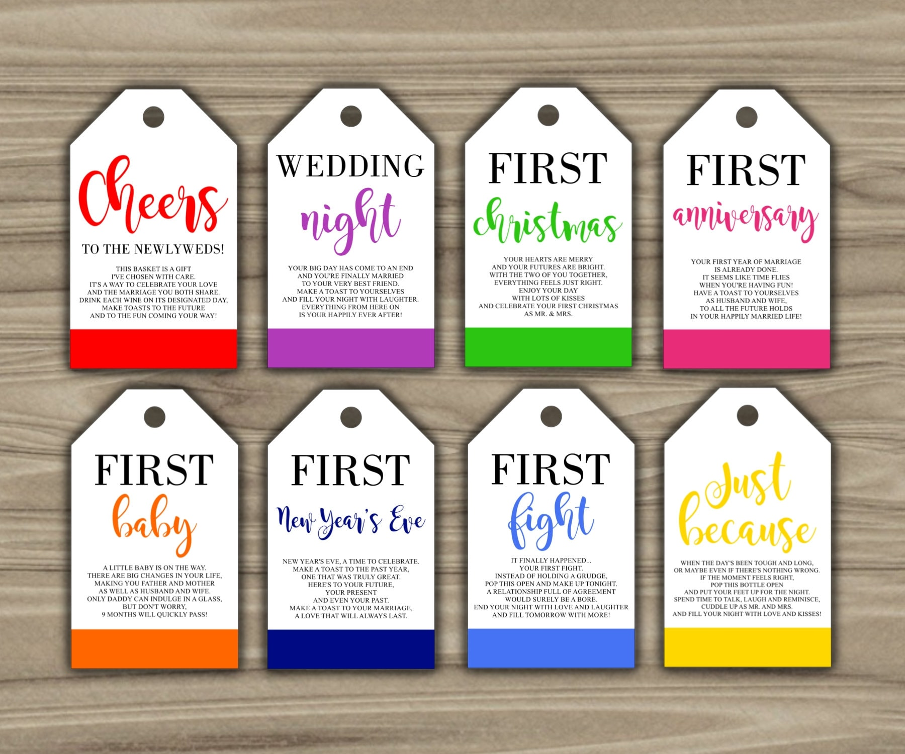Milestone Wine Tags Bridal Shower Gift Basket Tags First