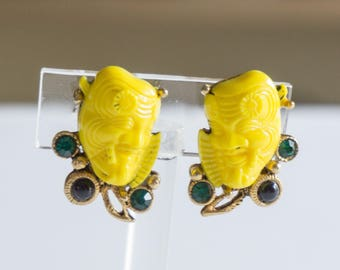 Vintage Yellow Signed Selro Noh Mask Devil Clip Earrings