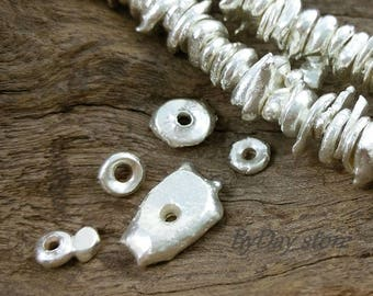 Handmade Silver,Free Form Nugget,Blob Silver Beads,Non-Oxidized Plain Chip Large Spacer Beads(L),approx:6-8 mm.,20 pcs.