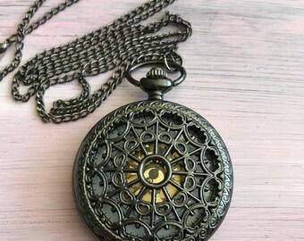 Antique Bronze steampunk ornate pocket watch collectible