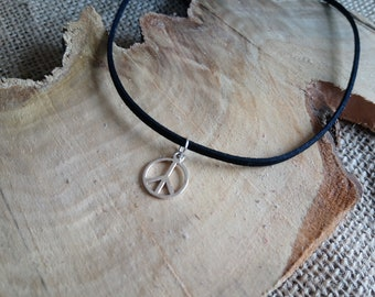 """Black faux suede cord choker with a Tibetan silver peace sign charm - 12-15"""" - boho / hippy / retro / vintage inspired / love"""
