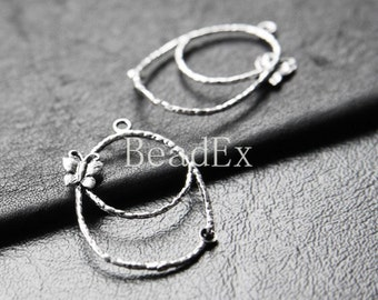 4pcs / Charm / Butterfly / Teardrop / Oxidized Silver / Base Metal  (ZA4458//J87)
