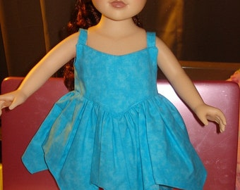 SALE - Turquoise blue Tinkerbelle style hankerchief dress for 18 inch Dolls - ag91