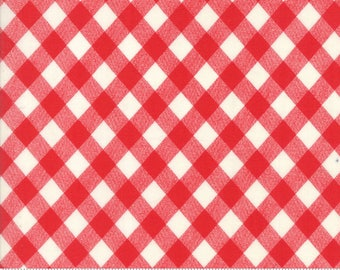 Bonnie & Camille Basics Red Gingham Fabric - Red Gingham Plaid Fabric By The 1/2 Yard
