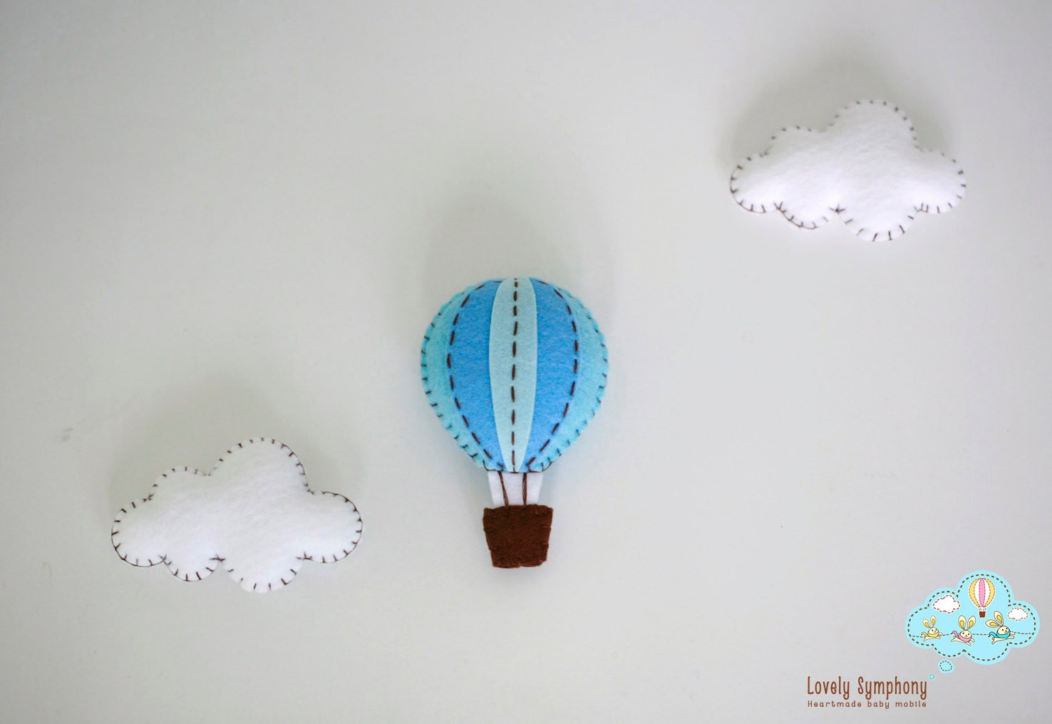 6 pieces of hot air balloons and clouds ornaments plush toy