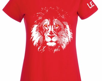 Womens lion t shirt in red. Lion tshirt for teenage girls. Ladies red top LEO Africa save the animals charity donation tee. Gift for vegan