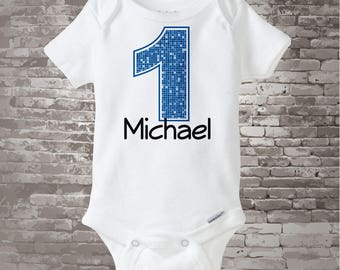 Baby Boys Clothing, First Birthday Onesie, Blue Number 1 1st Birthday Shirt, Personalized Boys Birthday, Baby Boys Outfit Gift 03212012a